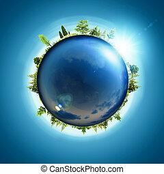 bleu, eco, résumé, planet., concept