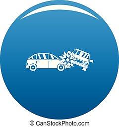 bleu, ecrasé, vecteur, voiture, icône