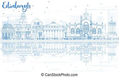 bleu, edimbourg, bâtiments, contour, horizon, reflections.