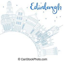 bleu, edimbourg, bâtiments, contour, space., horizon, copie