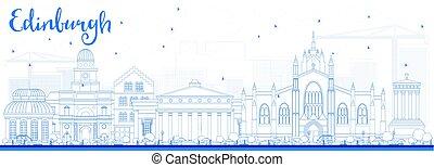 bleu, edimbourg, horizon, contour, bâtiments.