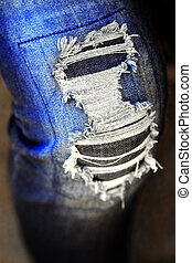 bleu, effilocher, jeans treillis, porté, pantalon