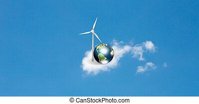 bleu, (elements, meublé, ceci, turbines, sur, nuage ciel, nasa), la terre, image, vent