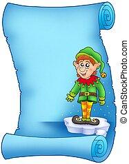 bleu, elfe, parchemin, noël