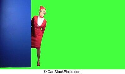 bleu, elle, écran, donnez, points, vert, planche, girl,...