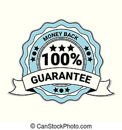 bleu, emblème, argent, cent, dos, isolé, 100, médaille, ruban, garantie