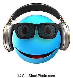 bleu, emoticon, 3d, sourire