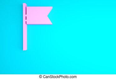 bleu, emplacement, drapeau, isolé, symbole., illustration, marqueur, concept., rose, arrière-plan., icône, minimalisme, render, 3d
