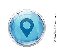 bleu, emplacement, icône