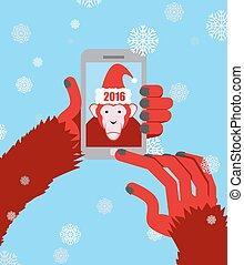 bleu, encapuchonné, singe, snowflakes., photo, claus, selfie., illustration, santa, vecteur, marques, fond, année, nouveau, 2016., smartphone.