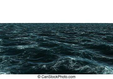 bleu, engendré, digitalement, rugueux, mer
