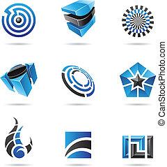 bleu, ensemble, 16, résumé, noir, icône