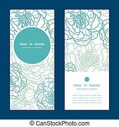 bleu, ensemble, art, vertical, modèle, cadre, salutation, vecteur, invitation, cartes, ligne, fleurs, rond