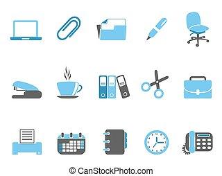 bleu, ensemble, bureau, série, outils, icône