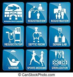 bleu, ensemble, cadavers, septic, icônes, stérilisation, douche, monde médical, -, resuscitator, enregistrement, carrée, réfrigération, médecine, fond, sports, laboratoire, sérum, salle