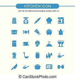bleu, ensemble, cuisine, icônes
