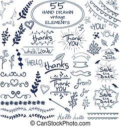 bleu, ensemble, elements., 55, grande main, conception, vector., dessiné, blanc