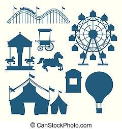 bleu, ensemble, festival, cirque, silhouettes, dessins animés