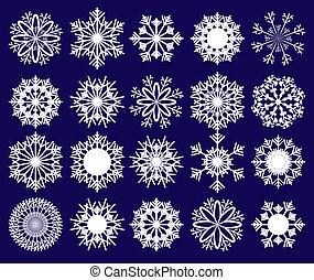 bleu, ensemble, flocons neige, illustration, fond, vecteur, 2, partie