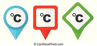 bleu, ensemble, fond, coloré, indicateurs, celsius, isolé, icons., edit., vecteur, vert, emplacement, facile, blanc rouge, marqueurs