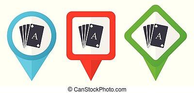 bleu, ensemble, fond, coloré, indicateurs, isolé, icons., edit., vecteur, vert, emplacement, facile, blanc rouge, carte, marqueurs