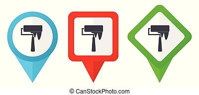 bleu, ensemble, fond, coloré, indicateurs, isolé, pouls, edit., icons., vecteur, vert, emplacement, facile, blanc rouge, marqueurs