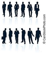bleu, ensemble, gallery., sombre, silhouettes, vecteur, reflections., homme affaires, mon, plus