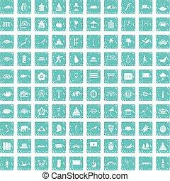 bleu, ensemble, grunge, icônes, asiatique, 100