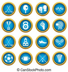 bleu, ensemble, icônes, équipement, cercle, sport