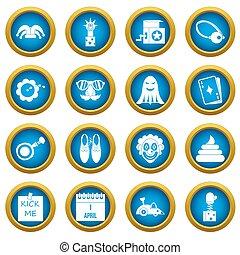 bleu, ensemble, icônes, avril, cercle, fools, jour