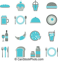 bleu, ensemble, icônes, fond nourriture, blanc