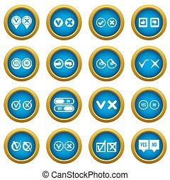bleu, ensemble, icônes, marque, cercle, chèque