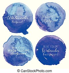 bleu, ensemble, illustration., aquarelle, arrière-plan., vecteur, cercle, blanc