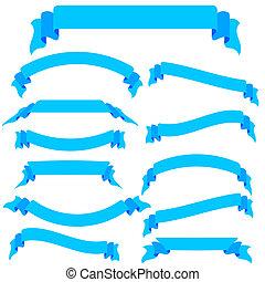 bleu, ensemble, illustration, bannières, vecteur, rubans