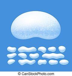 bleu, ensemble, isolé, neige, vecteur, fond, casquettes