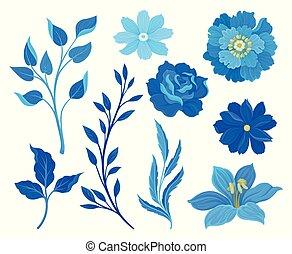 bleu, ensemble, leaves., illustration, arrière-plan., vecteur, images, fleurs blanches