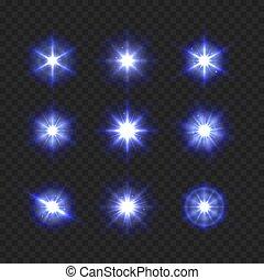 bleu, ensemble, lumière, étincelant, arrière-plan., vecteur, étoiles, transparent, briller