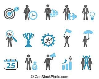 bleu, ensemble, métaphore, icones affaires, série