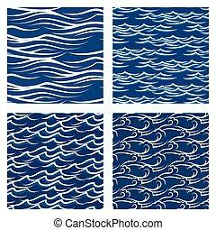 bleu, ensemble, modèle, seamless, vecteur, vagues