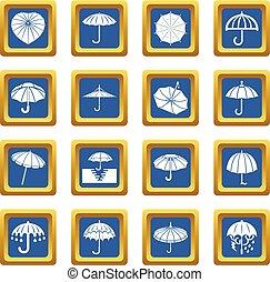 bleu, ensemble, parapluie, icônes, vecteur, carrée