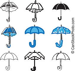 bleu, ensemble, parapluie, icônes