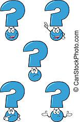 bleu, ensemble, question, collection, marque