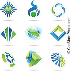 bleu, ensemble, résumé, icônes, divers, 6, vert