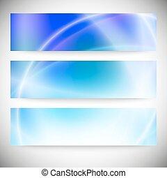 bleu, ensemble, résumé, texture, banners., fond, vecteur, horizontal
