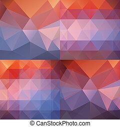 bleu, ensemble, résumé, triangulaire, fond, orange