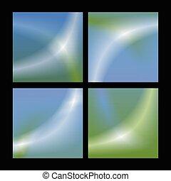 bleu, ensemble, résumé, vecteur, arrière-plan vert