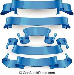 bleu, ensemble, rubans, lustré, vecteur