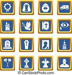 bleu, ensemble, service, icônes, obseque, rituel, vecteur, ...