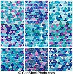 bleu, ensemble, triangle, hiver, modèle, clair
