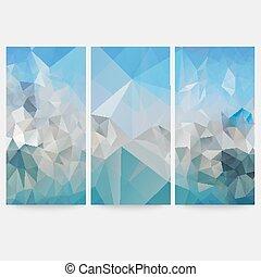 bleu, ensemble, triangle, résumé, illustration, vecteur, milieux conception